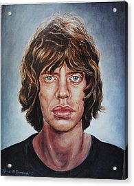 Acrylic Print featuring the painting Mick Jaggar by Melinda Saminski