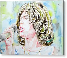 Mick Jagger Singing Watercolor Portrait Acrylic Print by Fabrizio Cassetta
