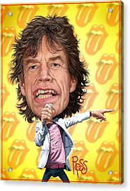 Acrylic Print featuring the digital art Mick Jagger by Scott Ross