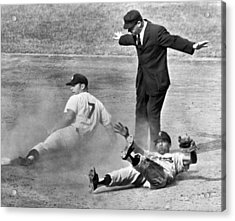 Mickey Mantle Steals Second Acrylic Print by Underwood Archives