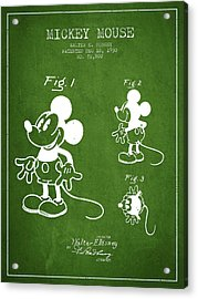 Mickey Mouse Patent Drawing From 1930 - Green Acrylic Print by Aged Pixel