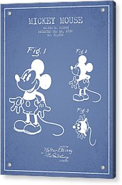 Mickey Mouse Patent Drawing From 1930 - Light Blue Acrylic Print by Aged Pixel