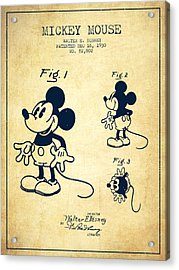 Mickey Mouse Patent Drawing From 1930 - Vintage Acrylic Print by Aged Pixel