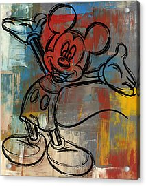 Mickey Mouse Sketchy Hello Acrylic Print by Paulette B Wright