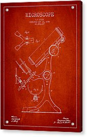 Microscope Patent Drawing From 1886 - Red Acrylic Print by Aged Pixel