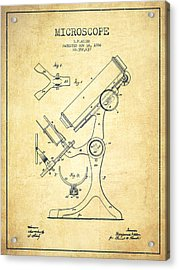 Microscope Patent Drawing From 1886 - Vintage Acrylic Print by Aged Pixel