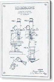 Microscope Patent Drawing From 1919 - Blue Ink Acrylic Print by Aged Pixel