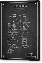 Microscope Patent Drawing From 1919- Dark Acrylic Print by Aged Pixel