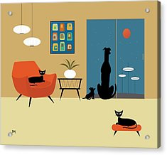 Mid Century Dogs And Cats Acrylic Print