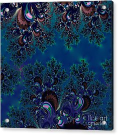 Acrylic Print featuring the digital art Midnight Blue Frost Crystals Fractal by Rose Santuci-Sofranko