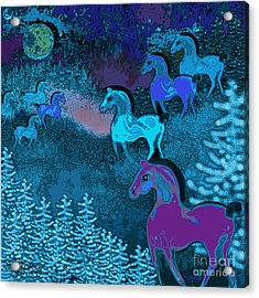 Midnight Horses Acrylic Print by Carol Jacobs