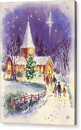 Midnight Mass Gouache Acrylic Print by Stanley Cooke