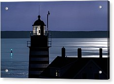 Midnight Moonlight On West Quoddy Head Lighthouse Acrylic Print