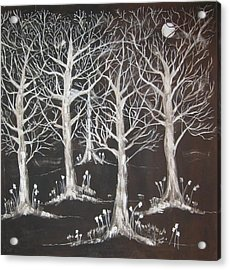 Acrylic Print featuring the painting Midnight Mystery Forest by Diane Pape