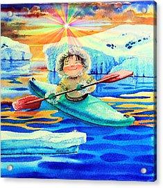 Midnight Sun Kayaker Acrylic Print