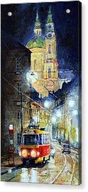 Midnight Tram  Prague  Karmelitska Str Acrylic Print by Yuriy Shevchuk