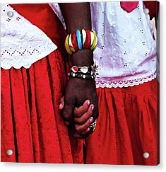 Midsection Of Couple Wearing Red Acrylic Print by Izabella Rodrigues / Eyeem