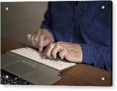 Midsection Of Man Typing On Keyboard At Table Acrylic Print by Paulien Tabak / EyeEm