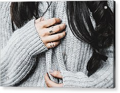 Midsection Of Woman In Warm Clothing Acrylic Print by Anna Kravtsova / EyeEm