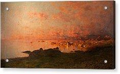 Midsummer Night, Lofoten, Norway Acrylic Print by Adelsteen Normann