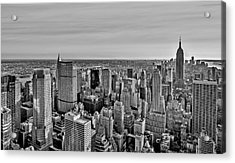 Midtown Manhattan Empire State Bw Acrylic Print