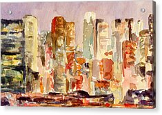 Midtown Manhattan Skyline At Dusk Watercolor Painting Of Nyc Acrylic Print by Beverly Brown