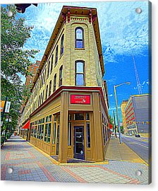 Midwest Flat Iron Building Acrylic Print by Garry Schmidt
