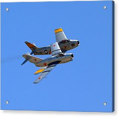 Acrylic Print featuring the photograph Mig 15 And F86 Sabre by Jeff Lowe
