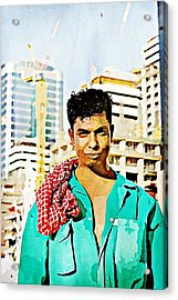 Migrant Worker Acrylic Print by Peter Waters