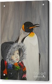 Mika And Penguin Acrylic Print
