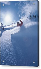 Mike Carving Fresh Snow In Big Acrylic Print