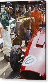Mike Hawthorn Ferrari 801  Aintree 1957 Acrylic Print by Alberto Ponno