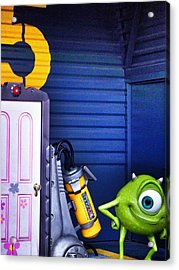 Mike With Boo's Door - Monsters Inc. In Disneyland Paris Acrylic Print by Marianna Mills