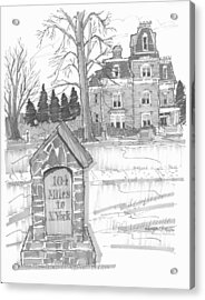 Acrylic Print featuring the drawing Mile Marker And Victorian by Richard Wambach