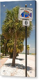 Mile Marker Zero At Pass-a-grille, St Acrylic Print by Panoramic Images