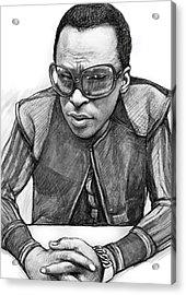 Miles Davis Art Drawing Sketch Portrait Acrylic Print by Kim Wang