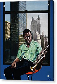 Miles High - Miles Davis Acrylic Print by Jo King