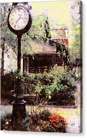 Milford Jewelry Square Clock Acrylic Print by Janine Riley