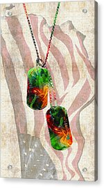 Military Art Dog Tags - Honor 2 - By Sharon Cummings Acrylic Print by Sharon Cummings