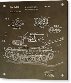 Military Tank Patent Acrylic Print by Dan Sproul