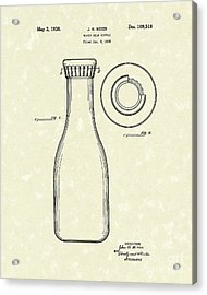 Milk Bottle 1938 Patent Art Acrylic Print