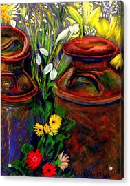 Milk Cans At Flower Show Sold Acrylic Print by Antonia Citrino