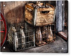 Milkman - Bottles In Boxes Acrylic Print by Mike Savad