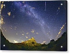 Milky Way And Perseids Meteor Shower Acrylic Print