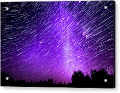 Milky Way And Star Trails Acrylic Print by Aaron Priest