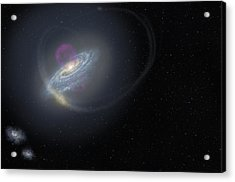 Milky Way And Surrounding Dwarf Galaxies Acrylic Print by Science Photo Library