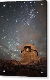 Milky Way Clouds Over The Mount Evans Observatory Acrylic Print by Mike Berenson