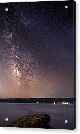Milky Way On Cayuga Lake Ithaca New York Acrylic Print by Paul Ge