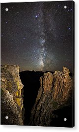 Milky Way Skies Over Rock Cut Acrylic Print by Mike Berenson
