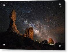 Milky Way Suspension At Balanced Rock Acrylic Print by Mike Berenson